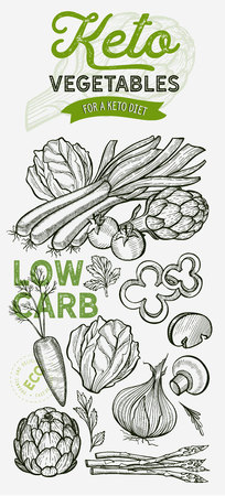 Vegetables and fruits illustration for keto diet on background. Vector hand drawn organic and vegetarian food. Design poster with lettering and doodle vintage graphic.