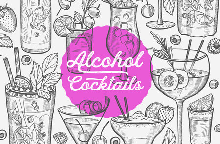 Cocktail illustration - margarita, mojito, gin tonic, mimosa, pina colada, long island, manhattan, martini for restaurant. Vector hand drawn alcohol drinks for bar and pub. Design with lettering.
