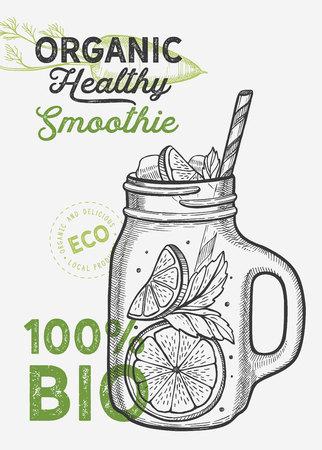 Drink menu smoothie illustration for juice restaurant on vintage Vector Illustration