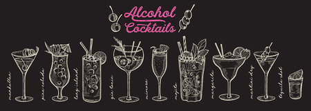 Cocktail illustration - margarita, mojito, gin tonic, mimosa, pina colada, long island, manhattan, martini for restaurant. Vector hand drawn alcohol drinks for bar and pub. Design with lettering. 写真素材 - 124170731