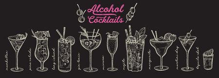 Ilustración de cóctel: margarita, mojito, gin tonic, mimosa, piña colada, long island, manhattan, martini para restaurante. Bebidas alcohólicas de vector dibujado a mano para bar y pub. Diseño con letras.