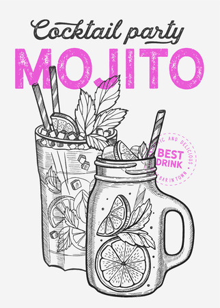 Cocktail illustration - mojito for restaurant on vintage background. Vector hand drawn alcohol drinks icons for bar and pub. Design with lettering and sketch elements. 版權商用圖片 - 124170733