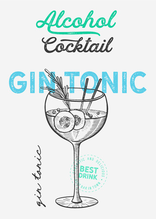 Cocktail illustration - gin tonic for restaurant on vintage background. Vector hand drawn alcohol drinks icons for bar and pub. Design with lettering and sketch elements.