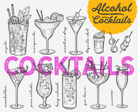 Cocktail illustration - margarita, mojito, gin tonic, mimosa, pina colada, long island, manhattan, martini for restaurant.