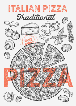 Pizza illustration for restaurant on vintage