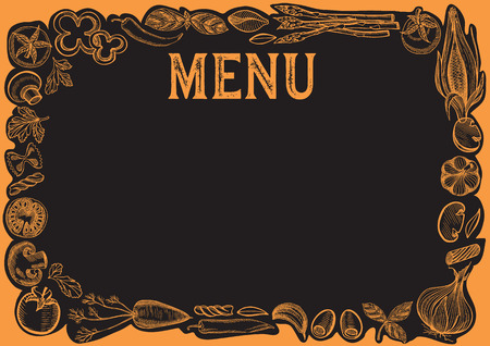 Chalkboard menu template for restaurant. Vector illustration background for food and drink cafe. Design layout with vintage lettering and frame of hand drawn ingredients.