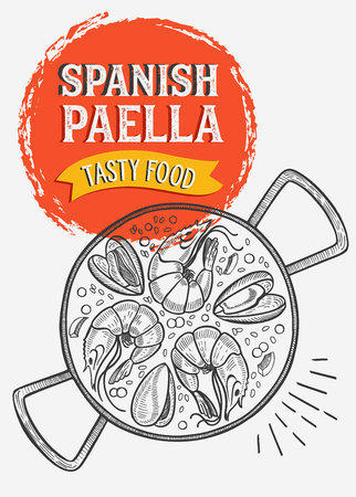 Spanish food illustration - paella for restaurant. Vector hand drawn poster for catalan cafe and bar. Design with lettering and doodle vintage graphic. Stock Illustratie