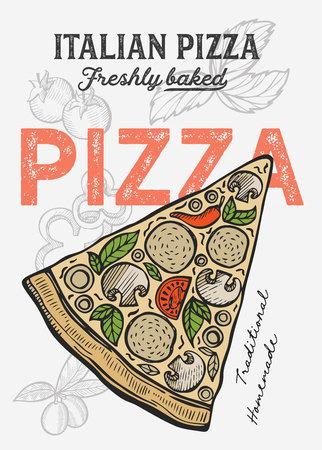 Pizza illustration for restaurant on vintage Banque d'images - 120392549