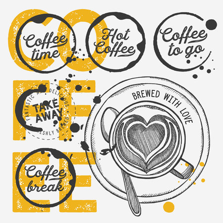 Coffee to go illustration for restaurant on vintage background. Vector hand drawn poster for cafe and drink truck. Design with lettering and doodle graphic elements. 版權商用圖片 - 124170743