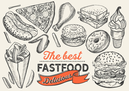 Fast food illustrations, burger, pizza, donut for restaurant on vintage background. Vector hand drawn poster for cafe and truck. Design with lettering and doodle graphic desserts, drinks. 向量圖像