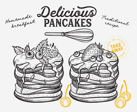 Waffle, pancake, crepe illustration for restaurant on vintage background. Vector hand drawn dessert icons for food cafe and bakery. Design with lettering and doodle graphic fruits. Çizim
