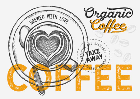 Coffee illustration for restaurant on vintage background. Vector hand drawn poster for cafe and drink truck. Design with lettering and doodle graphic elements. 版權商用圖片 - 124170747