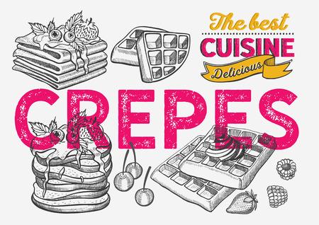 Waffle, pancake, crepe illustration for restaurant on vintage