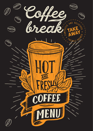 Coffee to go illustration for restaurant on vintage Illustration