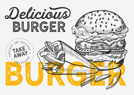Burger illustration for restaurant on vintage background. Vector hand drawn poster for fast food cafe and hamburger truck. Design with lettering and doodle graphic vegetables. 版權商用圖片 - 124170751