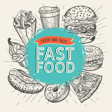 Fast food illustrations, burger, pizza, donut for restaurant on vintage background. Vector hand drawn poster for cafe and truck. Design with lettering and doodle graphic desserts, drinks. Ilustração