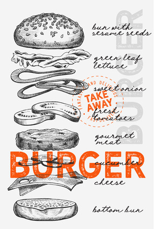 Burger illustration for restaurant on vintage background. Vector hand drawn poster for fast food cafe and hamburger truck. Design with lettering and doodle graphic vegetables.