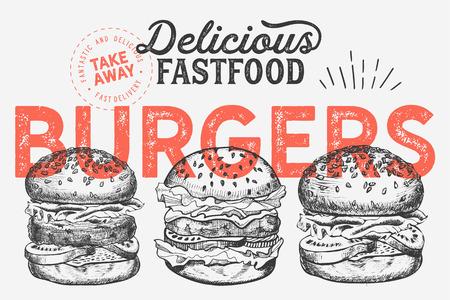 Burger illustration for restaurant on vintage background. Vector hand drawn poster for fast food cafe and hamburger truck. Design with lettering and doodle graphic vegetables. Illustration