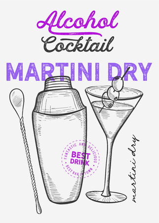 Martini dry for restaurant on vintage Illusztráció