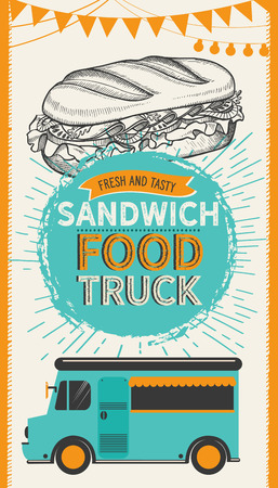 Sandwich illustration - bagel, snack, hamburger for restaurant. Vector hand drawn poster for cafe and fast food truck. Design with lettering and doodle vintage graphic.