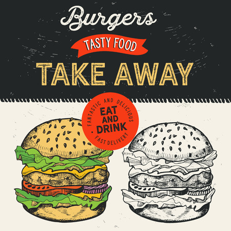 Burger illustration for restaurant on vintage background. Vector hand drawn poster for fast food cafe and hamburger truck. Design with lettering and doodle graphic vegetables. Vettoriali