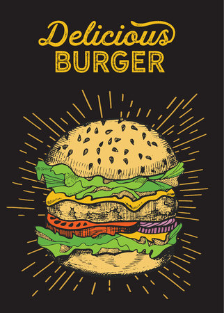 Burger illustration for restaurant on vintage background. Vector hand drawn poster for fast food cafe and hamburger truck. Design with lettering and doodle graphic vegetables. 向量圖像