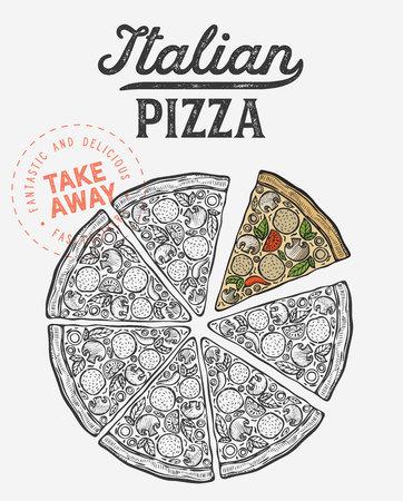 Pizza illustration for restaurant on vintage Banque d'images - 121748739