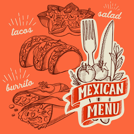 Mexican food illustrations - burrito, tacos, quesadilla for restaurant.  イラスト・ベクター素材