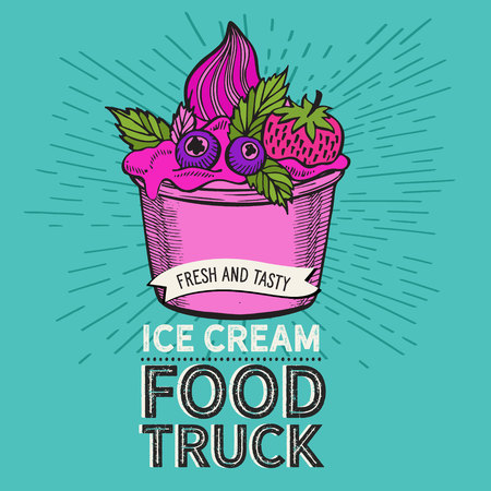 Ice cream illustration for food truck on vintage