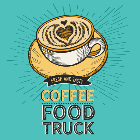 Coffee illustration for restaurant on vintage background. Vector hand drawn poster for cafe and drink truck. Design with lettering and doodle graphic elements. Illustration