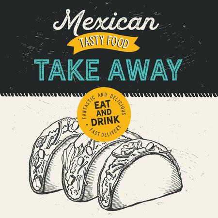 Mexican food illustrations - burrito, tacos, quesadilla for restaurant. Illustration