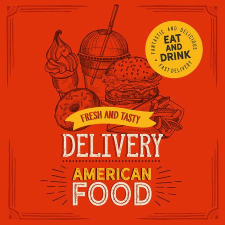 Fast food illustrations, burger, pizza, donut for restaurant on vintage 向量圖像