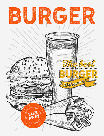 Burger illustration for restaurant on vintage