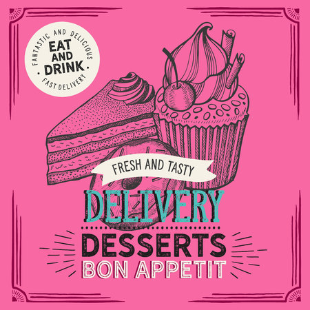 Dessert illustration - cake, donut, croissant, cupcake, muffin for bakery restaurant. Vettoriali
