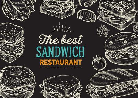 Ilustración de sándwich - bagel, snack, hamburguesa para restaurante.