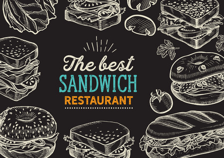 Sandwich illustration - bagel, snack, hamburger for restaurant. Ilustração