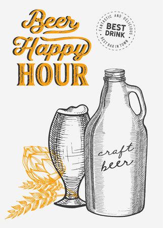 Beer illustration - glass, bottle, can for restaurant on vintage