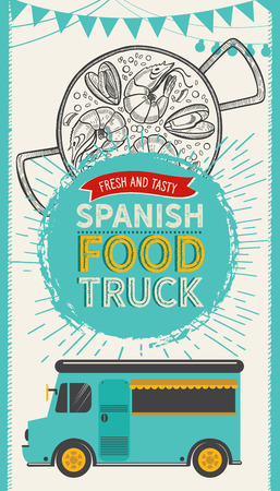 Spanish cuisine illustrations - tapas, paella, sangria, jamon, churros, calcots, turron for food truck. Vector hand drawn poster for catalan restaurant and bar. Design with lettering and doodle vintage graphic. Stock Illustratie