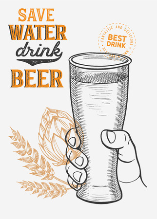 Beer illustration - glass, bottle, can for restaurant on vintage background. Vector hand drawn alcohol drinks icons for bar and pub. Design with lettering and graphic elements.