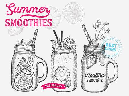 Drink menu smoothie illustration for juice restaurant on vintage