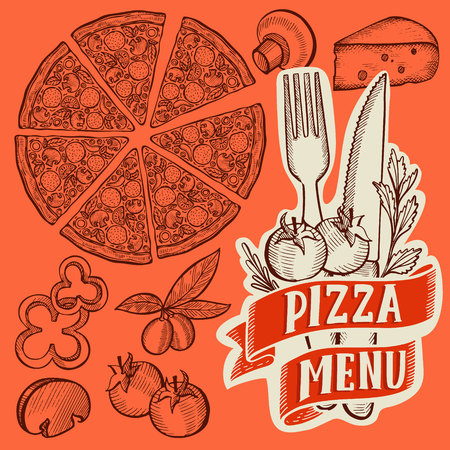 Pizza illustration for restaurant on vintage Banque d'images - 121748808