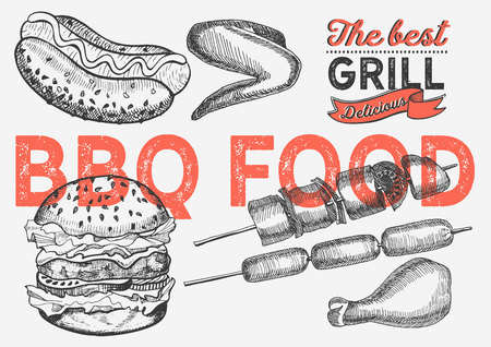 Bbq illustration for restaurant on vintage