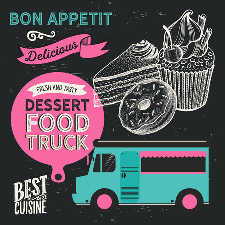 Dessert illustration - cake, donut, croissant, cupcake, muffin for bakery restaurant. Vector hand drawn poster for food cafe and pastry truck. Design with lettering and doodle vintage graphic. 向量圖像