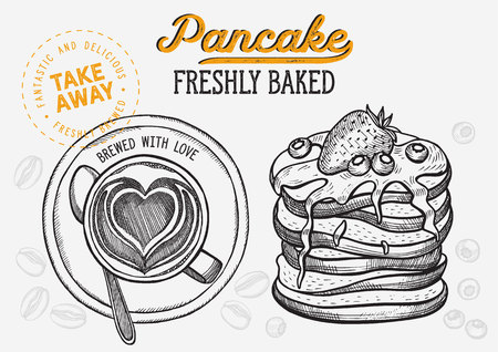 Waffle, pancake, crepe illustration for restaurant on vintage