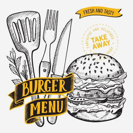 Burger illustration for restaurant on vintage