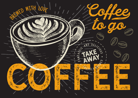 Coffee illustration for restaurant on vintage background. Vector hand drawn poster for cafe and drink truck. Design with lettering and doodle graphic elements. Illusztráció