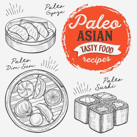 Illustrations asiatiques - sushi, dim sum, nouilles, gyoza pour régime paléo. Affiche dessinée à la main de vecteur pour café et bar japonais. Concevoir avec lettrage et doodle graphique vintage.
