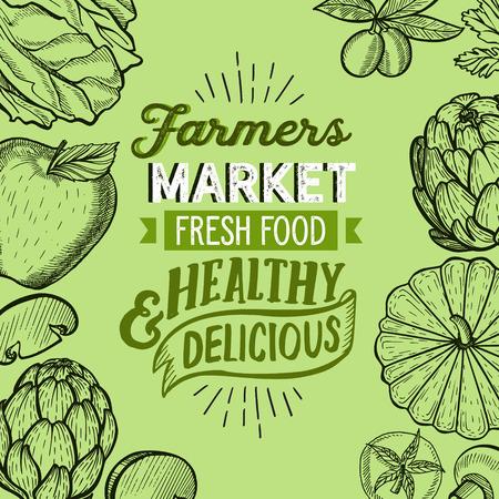 Vegetables and fruits illustration for farm market