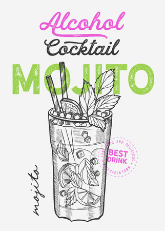 Cocktail illustration - mojito for restaurant on vintage