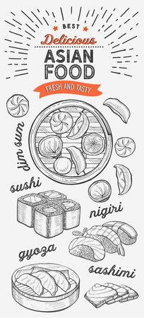Illustrations asiatiques - sushi, dim sum, nouilles, gyoza pour restaurant chinois. Affiche dessinée à la main de vecteur pour café et bar japonais. Concevoir avec lettrage et doodle graphique vintage. Vecteurs